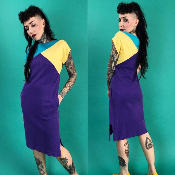 80s Diane Von Furstenberg Vintage Color Block Cotton Shirtdress Dress - Short Sleeve Casual Long Line Knee Length VTG RARE Designer Dress