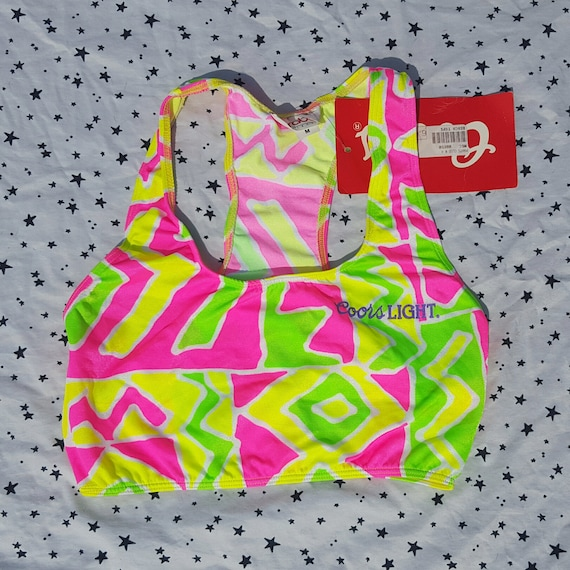 90s Vintage Neon Color Light Crop Top Small Medium - Bright Pink Yellow & Green Cropped Tank Top S/M - 1990s Sportsbra Tank w Original Tag