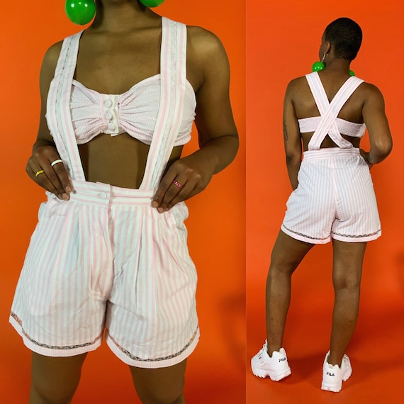 90's Cut Out Shorts Suspender Romper Medium - DEADSTOCK Vintage Summer Playsuit Mid-drift Pinstripe One Piece - RARE Summer Shorts Outfit