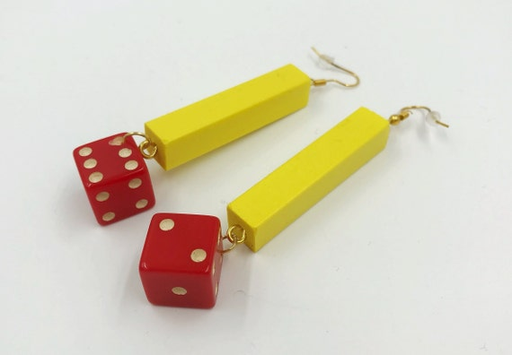 Vintage Dice Earrings - Handmade Recycled Long Dangly Trendy Statement Jewelry - Funky BIG Costume Jewelry Trendy Retro Recycled Yellow Red