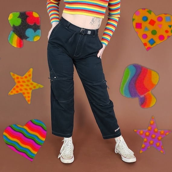 90's Wide Leg Pants Small Medium - Vintage Deadstock 1990's Black Cargo Pants NWT - Y2k Zipper Pocket Pant with Original Tag & Matching Belt