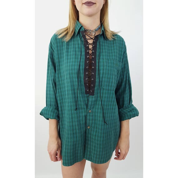 Remade Vintage Lace Up Flannel Medium Large - 90's Green Laced Grunge Plaid Shirt -Slouchy Baggy Oversized Laceup Unisex Tartan Cotton Top