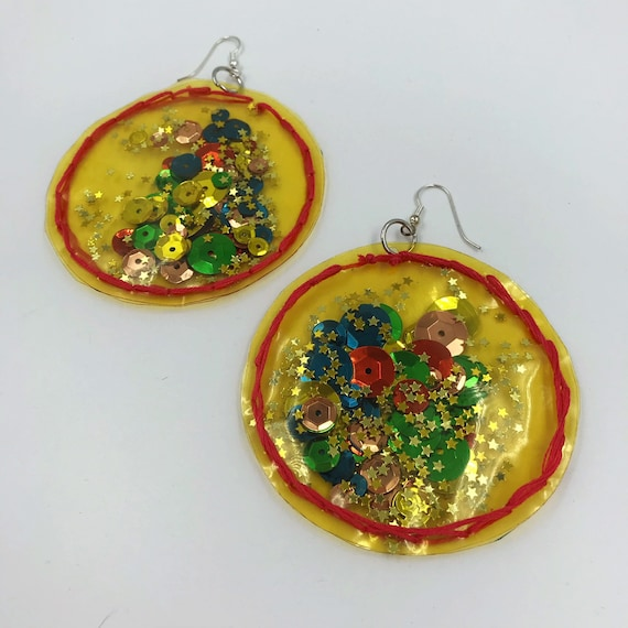 Handmade Clear Vinyl Hand Stitched Confetti Filled Statement Earrings - Fun Yellow Orange Glittery Star Oversized Dangly Round Party Jewelry