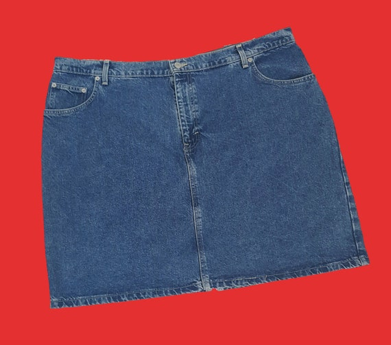 90s Tommy Hilfiger Womens Denim Skirt - Extra Large XXL Blue Jean Mini Skirt - Vintage Classic Jean Skirt