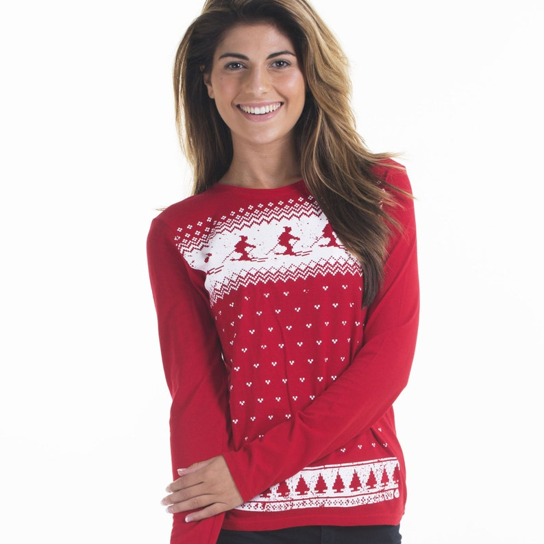 f71f15e989a Retro Womens Ski Christmas Jumper Style Long Sleeve T-shirt
