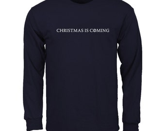 Men's Christmas is Coming, Game of Thrones Parody Long Sleeve T-shirt - Alternative to Christmas Jumper, Xmas Holidays Ugly Sweater - Navy