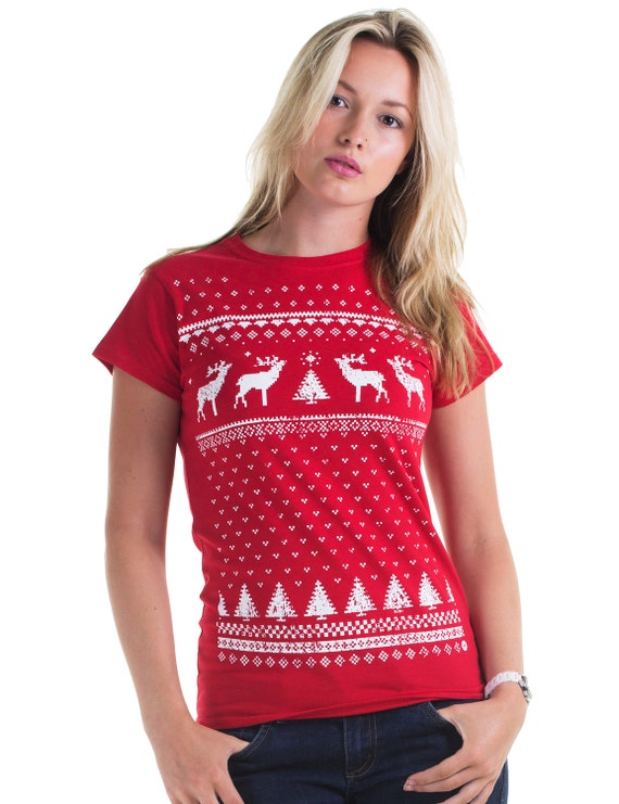 Fair Isle Christmas Sweater.Retro Womens Reindeer Christmas Jumper Style Ugly Sweater Xmas Holidays T Shirt Festive Red