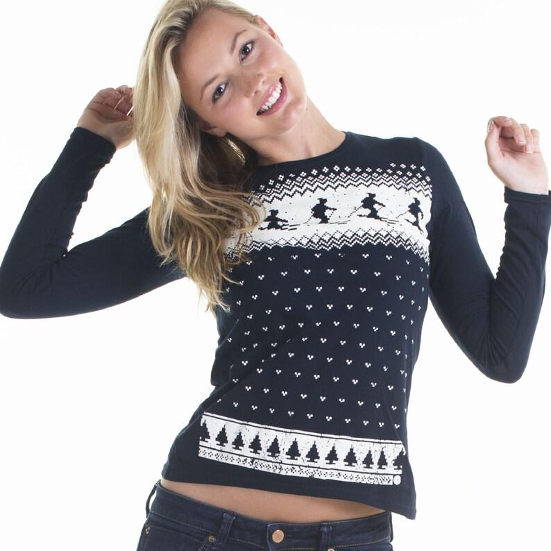 899bb949 Retro Womens Ski Christmas Jumper Style Long Sleeve T-shirt | Etsy