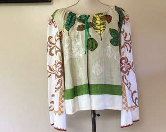 Linen tunic upcycled embroidered tablecloth leaf print vintage large
