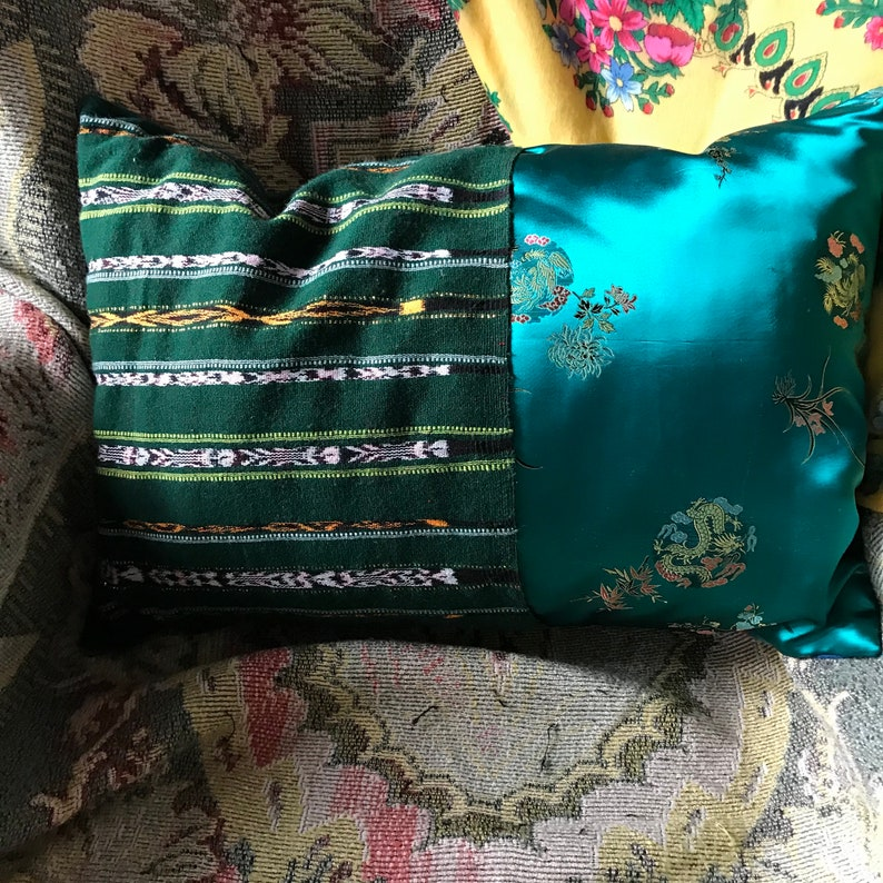 Handmade upcycled vintage needlepoint cozy plaid patchwork ooak boho pillow with cover home decor one of a kind mountain cabin satin
