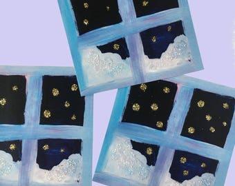 Snowy Window Glitter Sticker