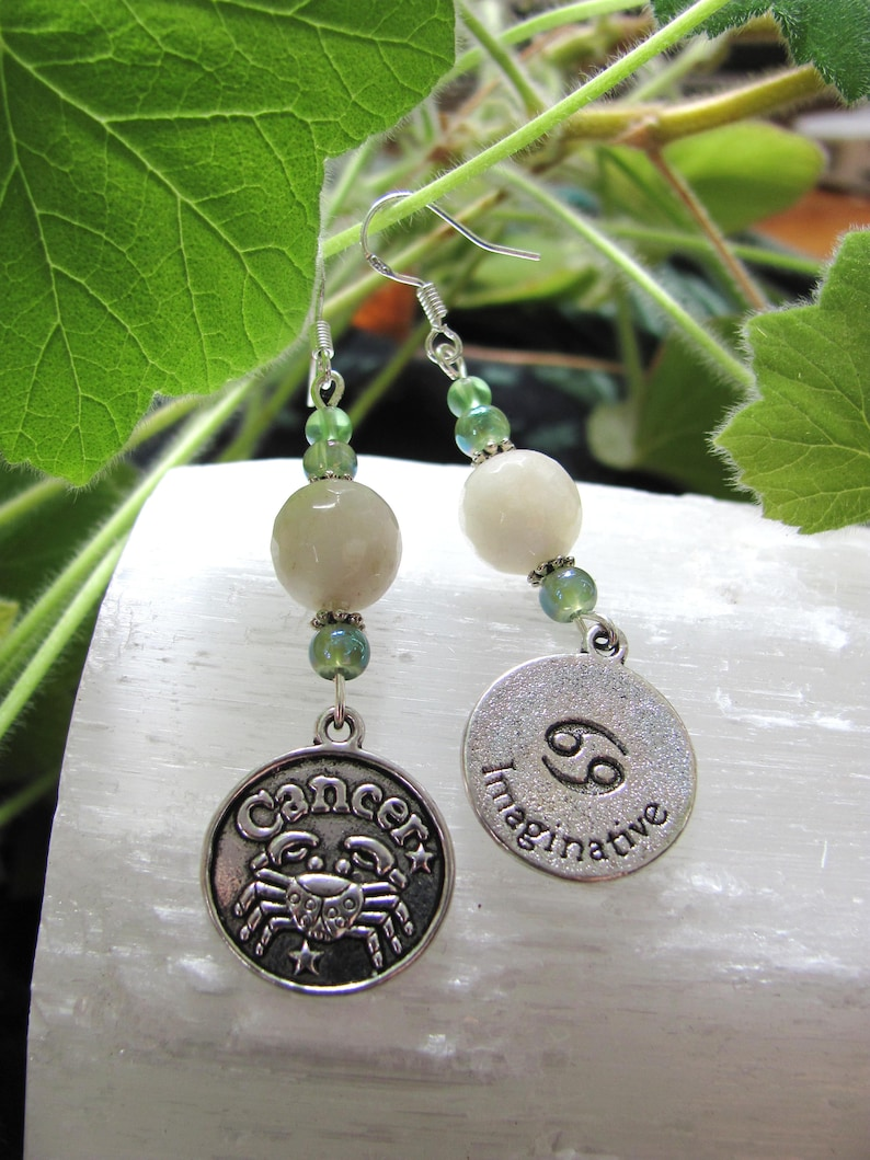 Zodiac Fun !! Cancer with The Moon Earrings - Planet of the Subconscious