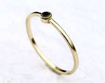 Black Diamond bezel stacking ring - Delicate Black diamond ring - Handmade 14k Gold Ring - Thin, delicate ring