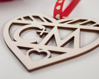 Laser Cut Love Heart Gift // INITIALS // Plywood