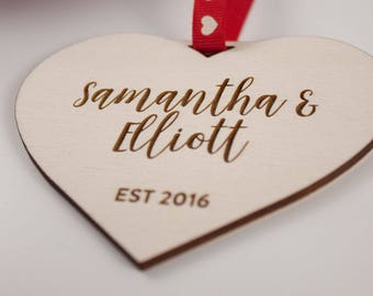 Personalised Love Heart Gift // EST // Laser Cut and Engraved Plywood