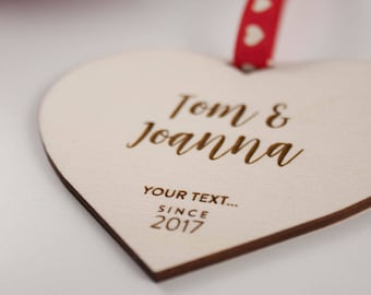 Personalised Love Heart Gift // YOUR TEXT // Laser Cut and Engraved Plywood