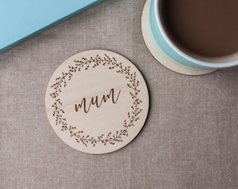 Plywood Engraved Coaster for Mum // Gift for Mum // Berry Wreath // Hand Illustrated