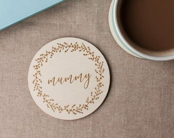 Plywood Engraved Coaster for Mummy // Gift for Mummy // Berry Wreath // Hand Illustrated