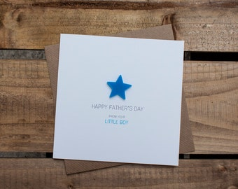 HAPPY FATHERS DAY Card from your Little Boy with detachable magnet keepsake // From Son // Daddys Boy // Special Daddy