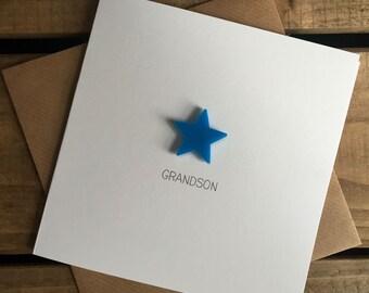Grandson Card with Light Blue detachable magnet keepsake