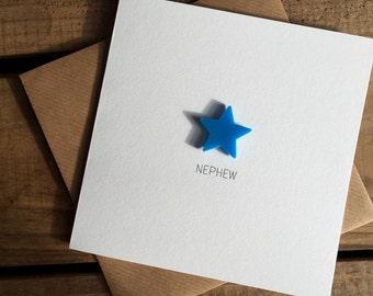 Nephew Card with Light Blue detachable magnet keepsake