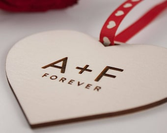 INITIALS Forever Love Heart Gift // Laser Cut and Engraved Plywood