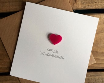 Special Granddaughter Card with Pink Heart detachable magnet keepsake