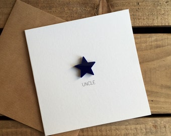 Uncle Card with Navy Blue detachable magnet keepsake