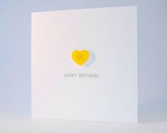 Happy Birthday Card with Yellow detachable Heart magnet keepsake
