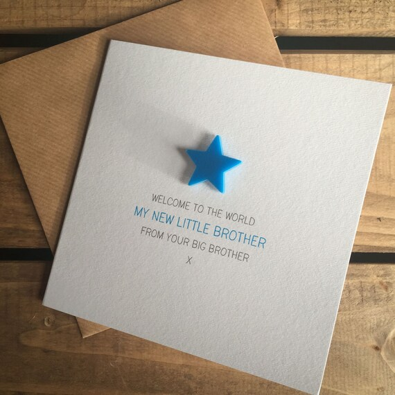 Card with detachable magnet keepsake s Welcome to the World Our New Little Brother from your Big Sister