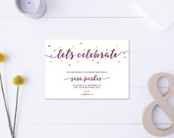 Let's Celebrate // Birthday Invitation // Metallic Gold & Purple // DIY Printable File // Digital PDF File