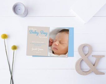 Baby Boy Arrival Post Card // Insert your own Baby Picture // Baby Blue & Neutral Tones // DIY Printable File // Digital PDF File