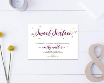 Sweet Sixteen // Invitation // Metallic Gold & Purple // DIY Printable File // Digital PDF File