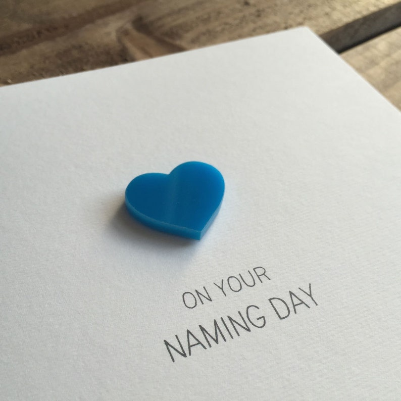 On Your Naming Day with Blue detachable Heart magnet keepsake