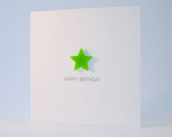 Happy Birthday Card with Lime Green detachable magnet keepsake