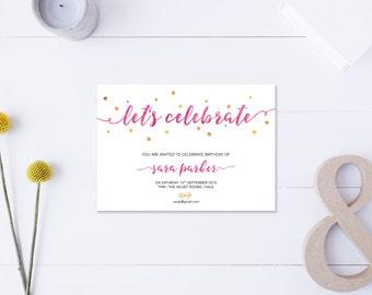 Let's Celebrate // Birthday Invitation // Metallic Gold & Pink // DIY Printable File // Digital PDF File