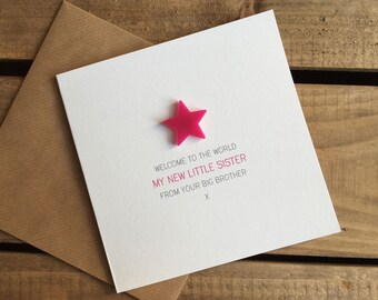 Welcome to the World: My New Little Sister from your Big Brother Card with detachable magnet keepsake