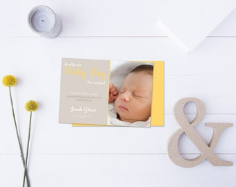 Baby Boy Arrival Post Card // Insert your own Baby Picture // Yellow & Neutral Tones // DIY Printable File // Digital PDF File