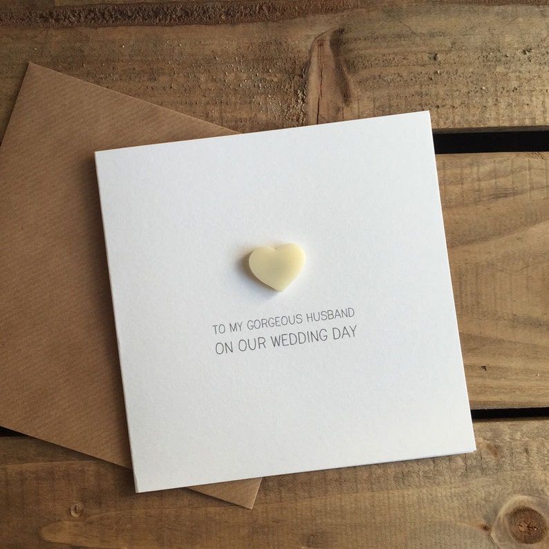 To My GORGEOUS HUSBAND On Our Wedding Day Card with Ivory detachable Love Heart magnet keepsake  Love  Marriage  From Wife