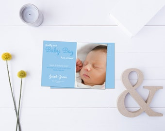 Baby Boy Arrival Post Card // Insert your own Baby Picture // Baby Blue Tones // DIY Printable File // Digital PDF File