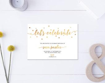 Let's Celebrate // Birthday Invitation // Metallic Gold // DIY Printable File // Digital PDF File