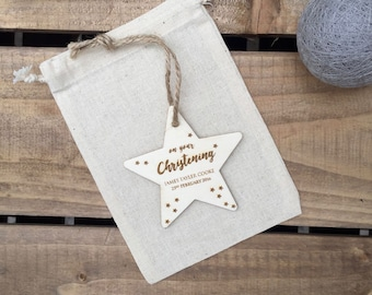 On your Christening Personalised Star // Christening Gift //  Engraved Wood Star // Hanging Ornament // Keepsake
