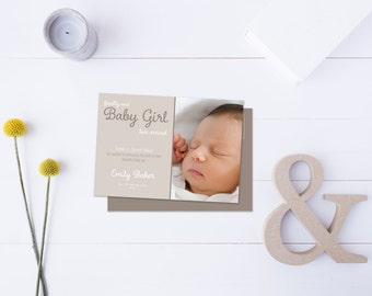 Baby Girl Arrival Post Card // Insert your own Baby Picture // Neutral Tones // DIY Printable File // Digital PDF File