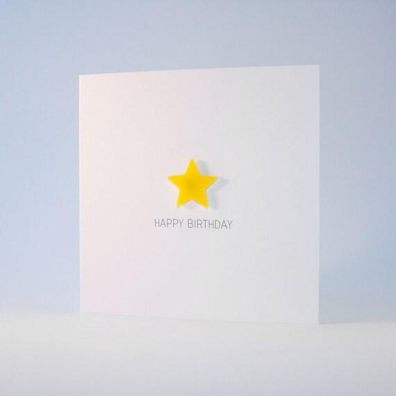 Happy Birthday Card with Yellow detachable magnet keepsake