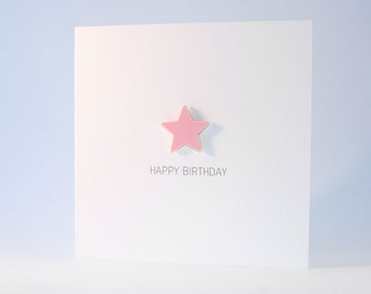 Happy Birthday Card with Light Pink detachable magnet keepsake
