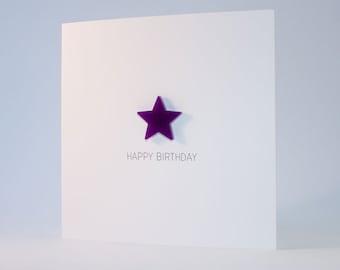 Happy Birthday Card with Purple detachable magnet keepsake