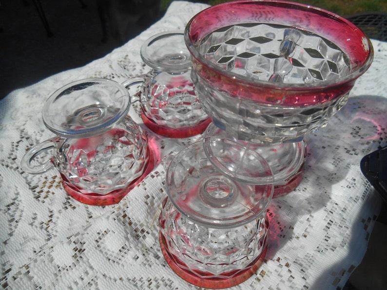 5 Kings Crown Indiana Glass Thumbprint Diamond  sorbet dessert  cups or small bowl