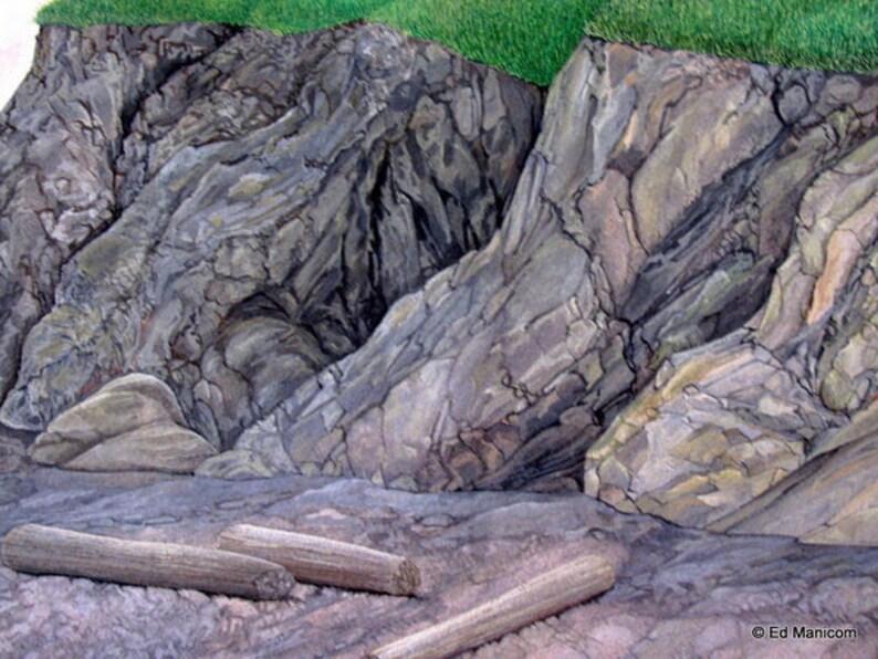 Fundy Coast Original Gouache Painting Landscape Seascape Nova Scotia Scenery Art