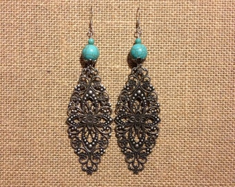 Handmade Long Metal Floral Earrings