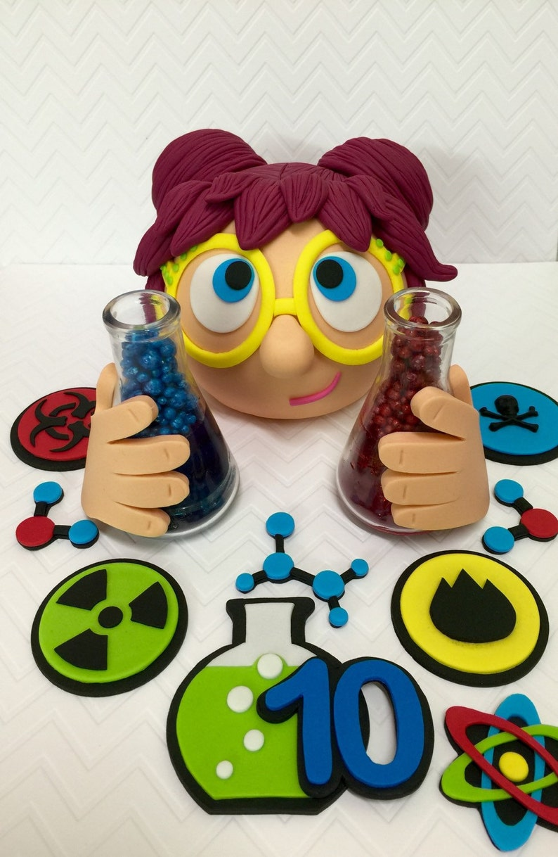 Terrific Fondant Mad Scientist Cake Topper Set Mad Science Birthday Etsy Personalised Birthday Cards Petedlily Jamesorg